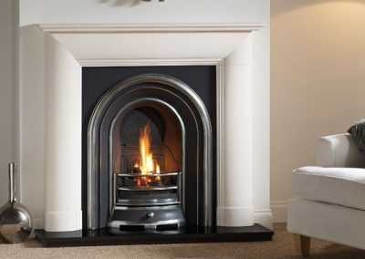 Everley 48 stone fireplace mantel – Agean Limestone