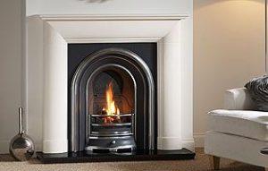 Everley 48 stone fireplace mantel - Agean Limestone