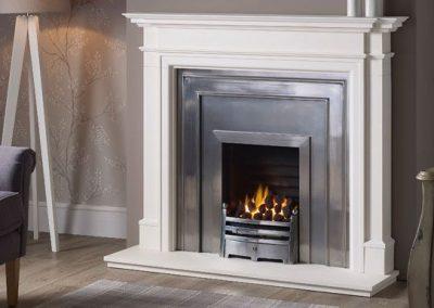 Kensington 56 stone fireplace mantel – Agean Limestone